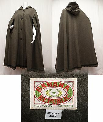 VINTAGE 1980's BANANA REPUBLIC Wool Hooded Cape Cloak Gray Green MILITARY OS