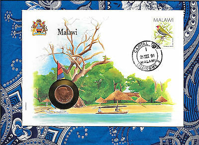 E Coins of All Nations Malawi 2 Tambala 1989 UNC KM#8.2a Paradise Whydah Bird