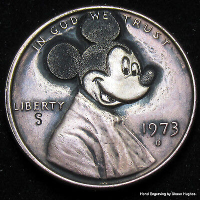 Mickey Mouse Disney Carved 1973 Lincoln Cent Hobo Nickel by Shaun Hughes