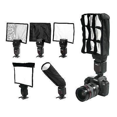 5 in 1 Foldable Speedlight Reflector Snoot Flash Softbox Diffuser Bender Beam