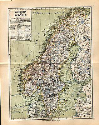1892 SWEDEN and NORWAY Antique map DATED