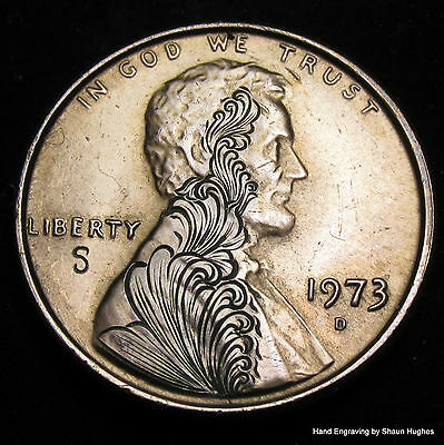 'Arise' Ornate Scrolls Lincoln Cent Hobo Nickel Hand Engraved by Shaun Hughes