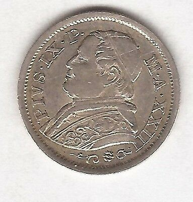 1868 Italy Papal States 10 Soldi Coin