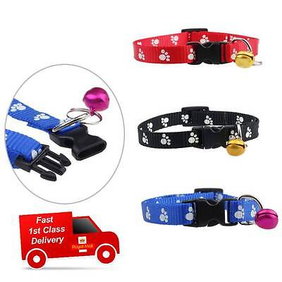 Quality Adjustable Nylon Footprints Collar Dog Puppy Pet Cat Collars With Bell