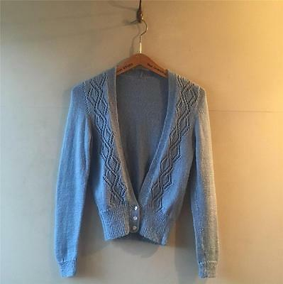 True Vintage 1940s/60s/80s Hand Knit Blue Jumper Cardigan Sweater UK6 8 10 12