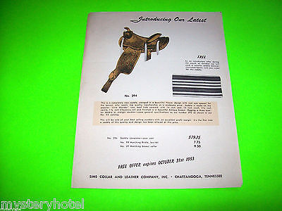 1953 Sims Collar And Leather Company Original Saddle Promo Sales Flyer Brochure