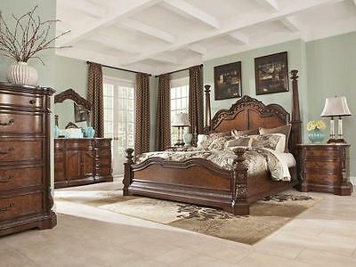 WINSTON - 5pcs Traditional Brown Queen King Large Poster Bedroom Set Furniture