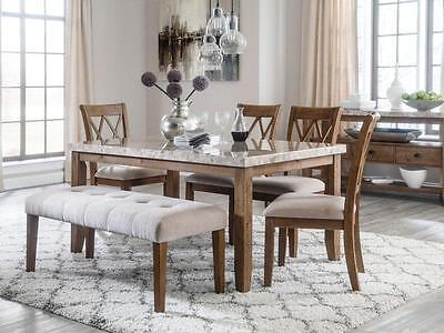 ERWIN - 6pcs New Modern Brown Rectangular Dining Room Table Chairs Set Furniture