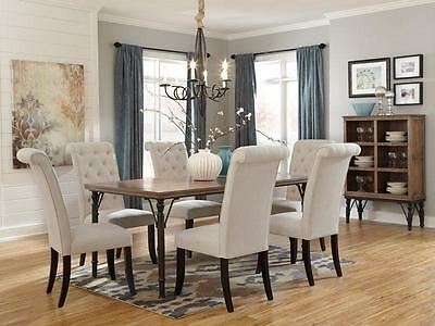 FAIRFIELD-7pcs Rustic Cottage Rectangular Dining Room Table Chairs Set Furniture