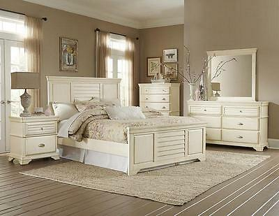 CANBERRA - 5pcs Country Cottage Antique White Queen King Bedroom Set Furniture