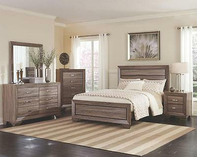 CENON - 5pcs Modern Light Natural Brown Queen King Panel Bedroom Set Furniture