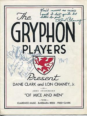 Lon Chaney Jr Clarence Muse Dane Clark Signed Of Mice And Men Program Autograph