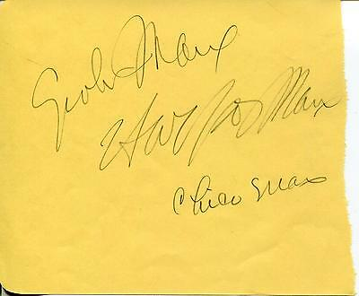 The Marx Brothers Grouxo Harpo & Chico Signed Autograph Jsa Authenticated Letter