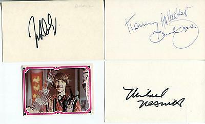 The Monkees Tv Rock Group Signed Cards Autograph With Jsa Authenticated Letter