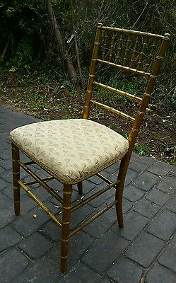 Vintage Antique Gilt Bamboo & Upholstered Occasional Chair