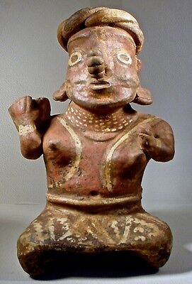 Pre-Columbian NAYARIT SEATED FEMALE W/BOWL, EX: SOTHEBY'S '78