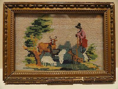 Rare Antique Micro Beaded Framed Picture With Pastoral Scene