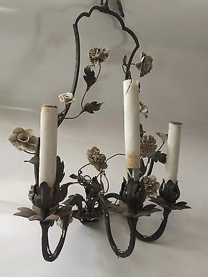 Beautiful Antique French Sconce with Porcelain Flowers Needs TLC