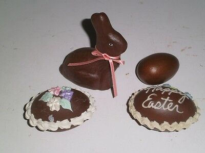 Vintage faux chocolate ceramic Easter Eggs & little bunny rabbit 1960's