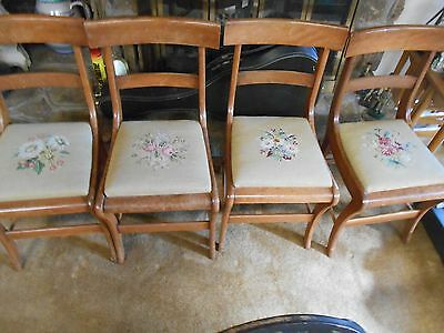Outstanding Vintage Wood Set of 4 NEEDLEPOINT SEATS Dinning Room CHAIRS