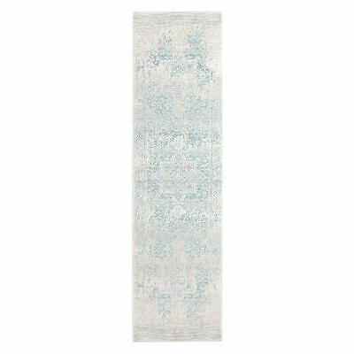 NEW Rug Culture Valiente Oriental Runner Rug, Bone/Blue