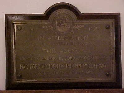 Metal Plaque On Wood Hartford Accident And Indeminty Company 25Th Anniversary