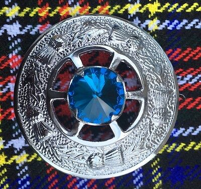 "Men's Kilt Fly Plaid Brooch Blue Stone 2""/ladies Shawl Brooch/Scottish Brooches"
