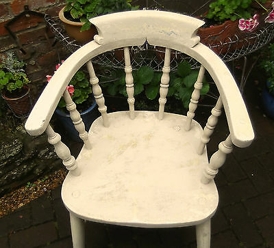 Vintage Captains Desk Chair~Cream Painted~Shabby Chic~Distressed~Country Kitchen
