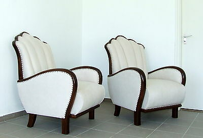 Pair of Art Deco Armchairs Cloud Back Velvet. Genuine 1920s Antique Club Chairs