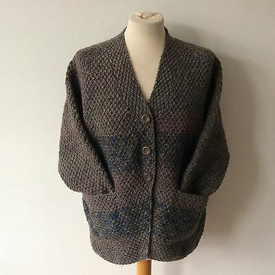 Vintage Hand Knitted Wool Striped Cardigan Size 8 10 12