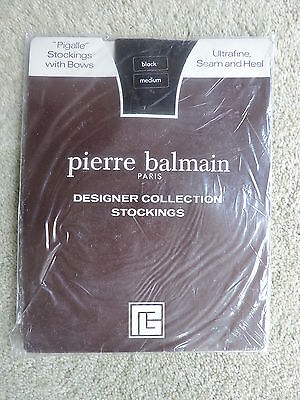 1 Pr Vintage Pierre Balmain  Ff Pigalle Black   Stockings With Bows Size Med