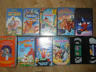 Large collection of 11 Disney / Childrens Videos  - see listing for details