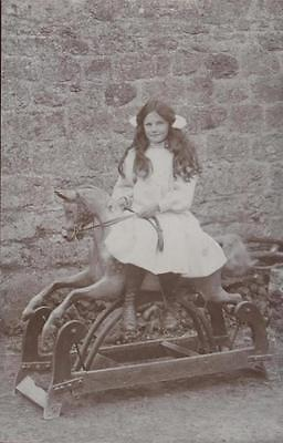 Unknown Girl On Rocking Horse Real Photo