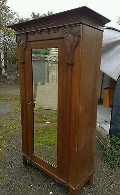Oak bedroom wardrobe  vintage cupboard cabinet circa 1900s 1920s