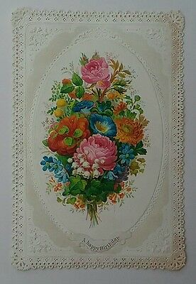 Lovely Embossed Lace Victorian  GOODALL?Happy Birthday Card, Bouquet.