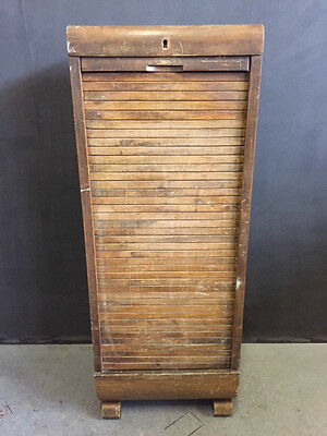 Vintage Wooden Filing Cabinet, Roll Down Front, With Key