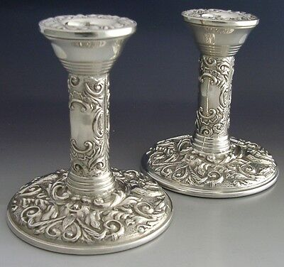 Very High Quality Sterling Silver Embossed Candlesticks 1975 Green Man Mint