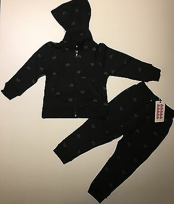 'SUGAR SQUAD' GIRLS BLACK & GREY HEART PRINT TRACKSUIT - Ages 2,3,4,5,6,7,8