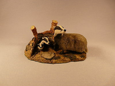 Wildtrack Animal Collection Badgers Family Sculpture Handmade In Scotland New