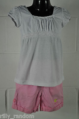 Girls Pink Next Shorts With a White Pumpkin Patch Top T Shirt UK Age 4-5 Years
