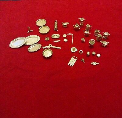 Job lot of pewter dolls house miniatures