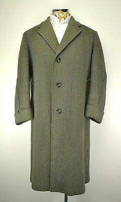 "1950's Heavy Ulster Overcoat size 46""  Lovat Herringbone Tweed"
