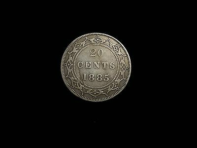 Rare Affordable Nice Grade Newfoundland Canada 1885 20 Cent Silver Coin Fast S&H