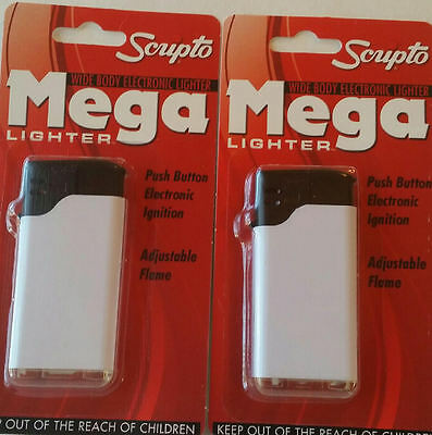 2 Electronic Scripto Lighters Mega Color Ivory White New Wide Body