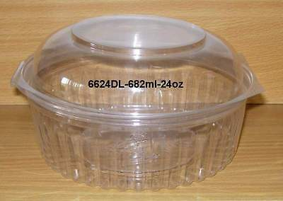 22 x Disposable Clear Plastic Food Bowl with Hinged Dome Lid..682ml-24oz