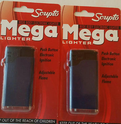 2 Electronic Scripto Lighters Mega Color Navy Blue New Wide Body