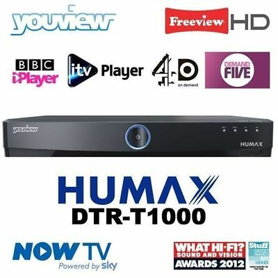 Humax Dtr-T1000 500Gb Youview Twin Tuner Smart Hd Tv Recorder + Remote And Leads