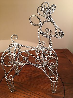 Silver Colored Metal Wound Wire Reindeer Christmas Decor