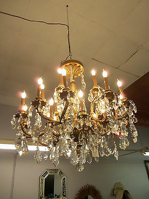Vintage Large Bronze Chandelier 251 Crystals 12 differant styles