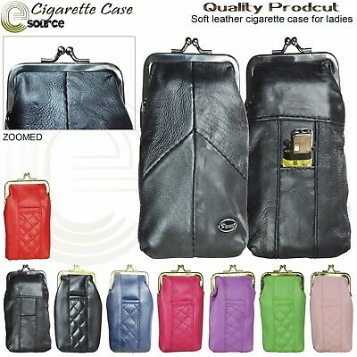Leather cigarette case with lighter pouch attached ladies cigarette case